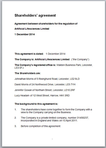 Shareholders Agreement Template - Sample Download